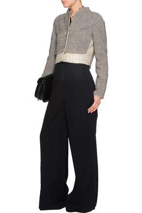 AGNONA Metallic wool-blend bouclé-tweed cropped jacket