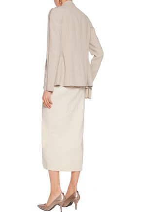 AGNONA Leather-trimmed tie-neck crepe jacket