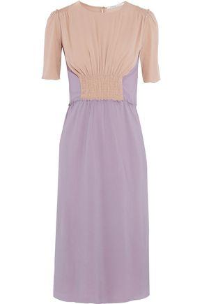 AGNONA Smocked two-tone silk-blend crepe midi dress