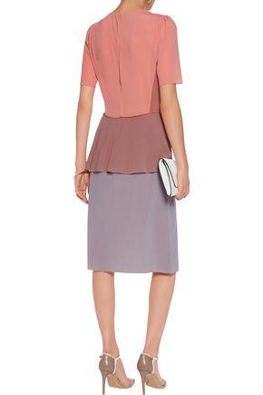 AGNONA Smocked color-block silk-blend dress