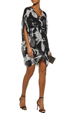 HALSTON HERITAGE Printed chiffon mini dress