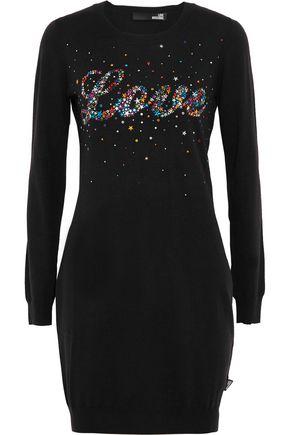 LOVE MOSCHINO Abito embellished stretch-knit mini dress
