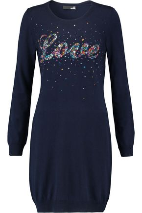 LOVE MOSCHINO Embellished stretch-knit mini dress