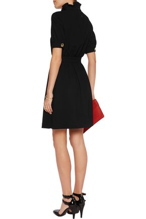 LOVE MOSCHINO Gathered ruffled crepe de chine mini dress