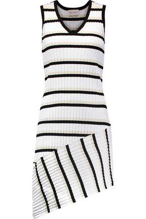 MILLY Asymmetric striped ribbed-knit dress