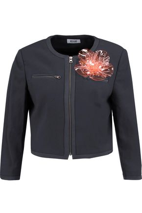 BOUTIQUE MOSCHINO Cropped appliquéd crepe de chine jacket