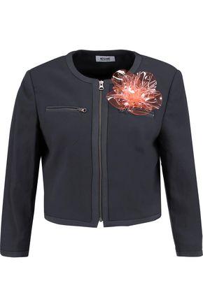 BOUTIQUE MOSCHINO Cropped appliquéd crepe de chine jacket