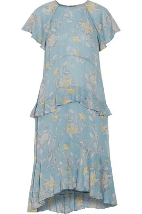 ZIMMERMANN Adorn Floating ruffled floral-print silk crepe de chine midi dress