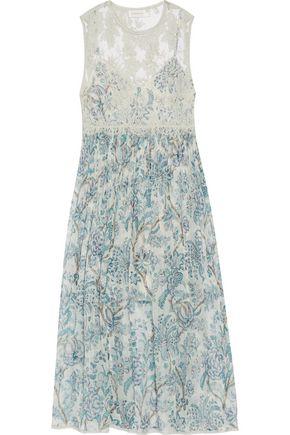 ZIMMERMANN Lace-paneled printed chiffon midi dress