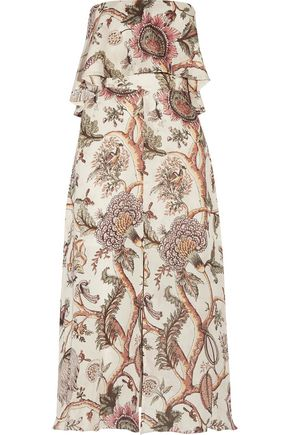 ZIMMERMANN Strapless printed silk-crepe midi dress