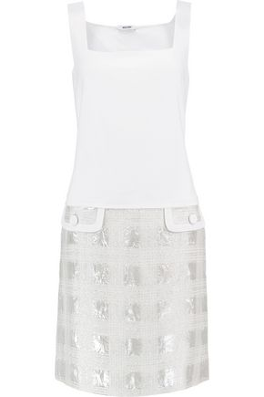MOSCHINO Jacquard-paneled cotton, silk and linen-blend mini dress