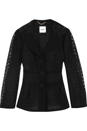 MOSCHINO Crepe-paneled embroidered organza jacket