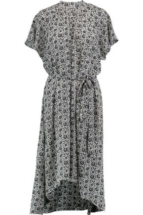 ZIMMERMANN Belted floral-print silk crepe de chine midi dress