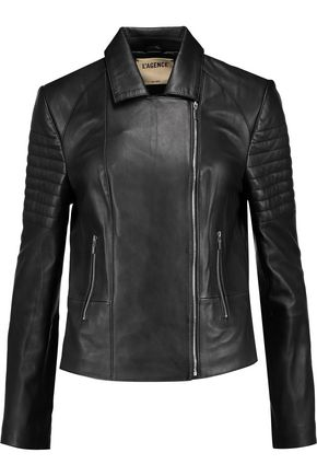 L'AGENCE Mercer paneled leather biker jacket