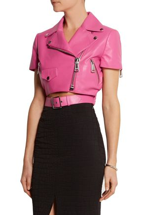 MOSCHINO Cropped leather biker jacket