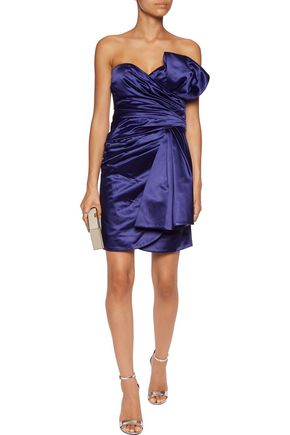 MOSCHINO COUTURE Strapless ruched cotton-blend duchesse-satin mini dress