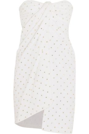 MOSCHINO Strapless crystal-embellished cotton-terry mini dress
