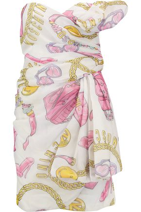 MOSCHINO Strapless draped printed silk-georgette mini dress