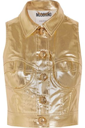 MOSCHINO COUTURE Metallic coated cotton-blend vest