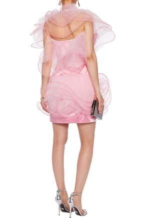 MOSCHINO Strapless tulle-paneled satin mini dress