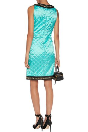 MOSCHINO Chain-trimmed leather-paneled quilted satin mini dress