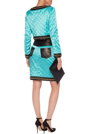 MOSCHINO Chain-trimmed leather-paneled quilted satin jacket