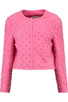 MOSCHINO Crystal-embellished crepe jacket