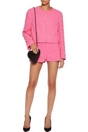 MOSCHINO Crystal-embellished crepe jacket