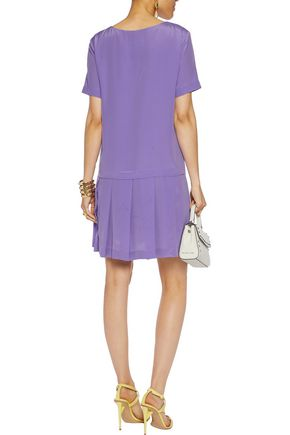 MOSCHINO Pleated silk crepe de chine mini dress