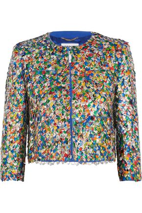 MOSCHINO Appliquéd silk jacket