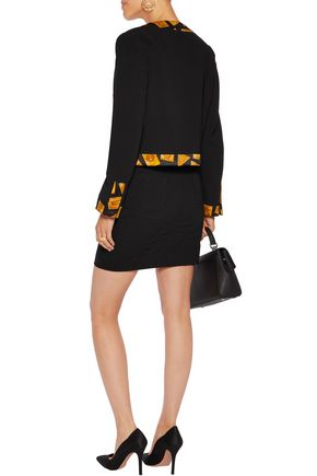 MOSCHINO Two-tone printed silk satin-trimmed crepe jacket