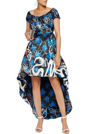 MOSCHINO Pleated printed satin-crepe gown