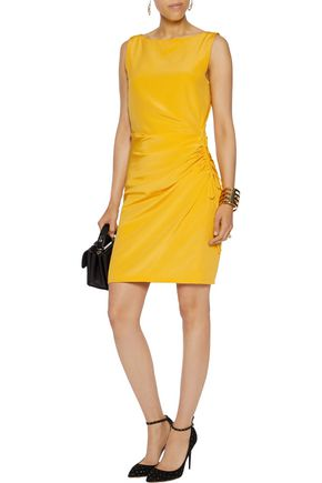 MOSCHINO Ruched silk-crepe mini dress