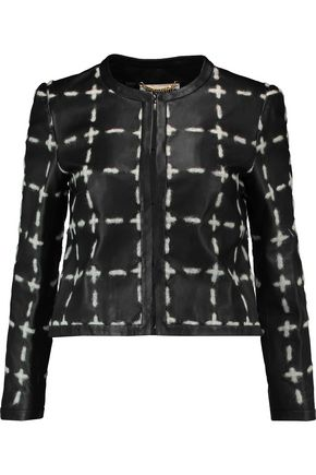 MOSCHINO Appliquéd leather jacket