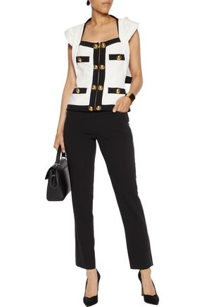 MOSCHINO Button-embellished cutout crepe jacket