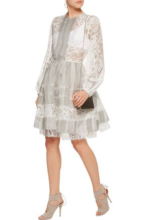 ZIMMERMANN Havoc paneled silk guipure lace and striped cotton-blend organza dress