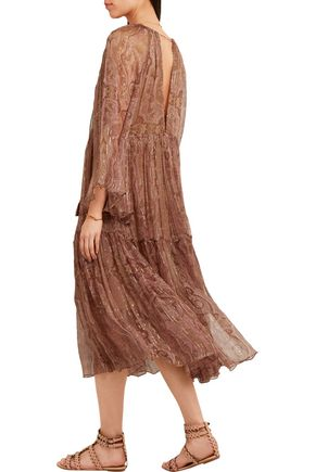 ZIMMERMANN Realm metallic paisley-print silk-georgette dress