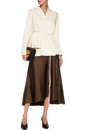 MARNI Wrap-effect cotton-blend peplum jacket