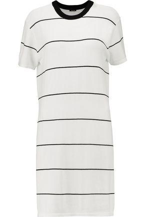 MONROW Striped stretch-knit mini dress