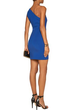 HALSTON HERITAGE One-shoulder paneled ponte mini dress