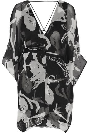 HALSTON HERITAGE Printed chiffon mini dress