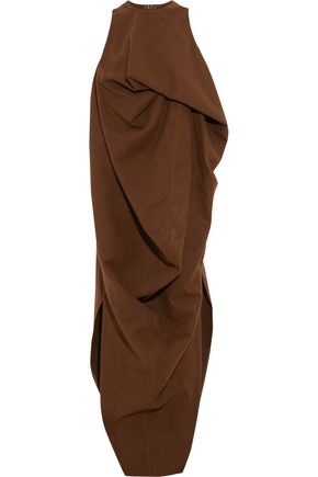 RICK OWENS Draped cotton and silk-blend midi dress