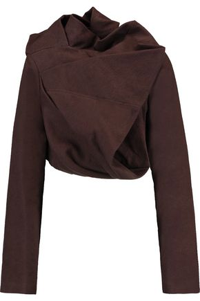 RICK OWENS Cropped draped cotton and silk-blend jacket