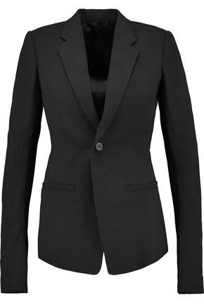RICK OWENS Ribbed knit-paneled wool-crepe blazer