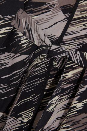 HALSTON HERITAGE Printed silk crepe de chine kimono jacket