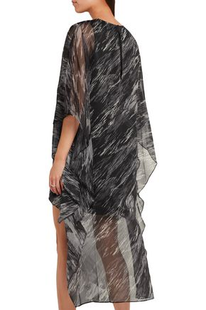 HALSTON HERITAGE Embellished printed georgette mini dress