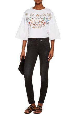 W118 by WALTER BAKER Kenya embroidered cotton-poplin top