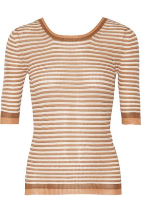 MISSONI Striped ribbed-knit jersey top