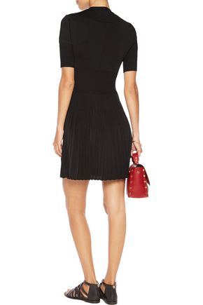 GIVENCHY Paneled stretch-knit and pleated stretch-jersey dress