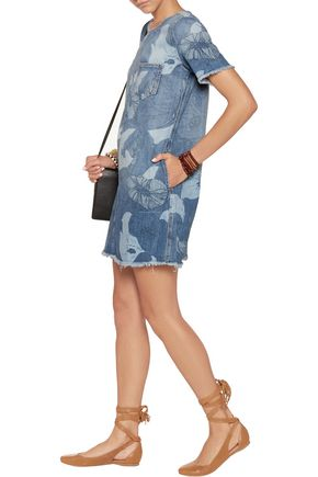 CURRENT/ELLIOTT The Fray Edge printed denim mini dress